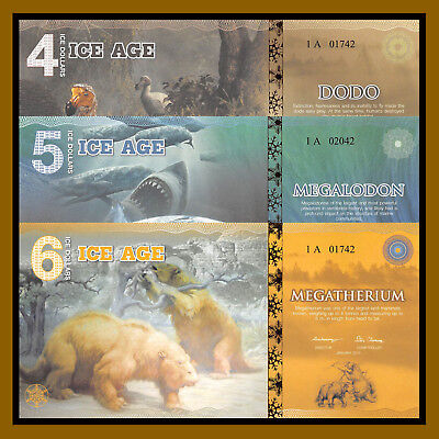 5 Ice Age Dollars 2015 UNC Private Issue Banknote Megalodon Shark