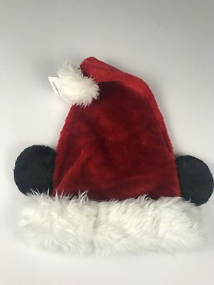 7fc0dcf3a50ef Santa Mickey Mouse Plush Red Ear Hat ADULT Disney Parks Authentic Disney NEW