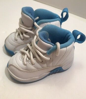 33f9418f0708 JORDAN 12 RETRO University Blue White Infant Shoes Size 4C -  30.00 ...