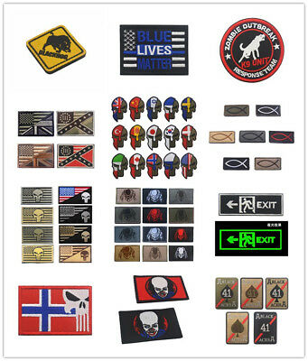Lots Style PVC Patches Tactical Military Clothe Hat Decor Armband Badge Backside