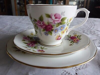 Duchess England Bone China Trio Gilded Floral Bouquet