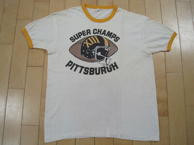 CLASSIC!! 1979 vtg PITTSBURGH STEELERS ringer T SHIRT super bowl FOOTBALL LARGE