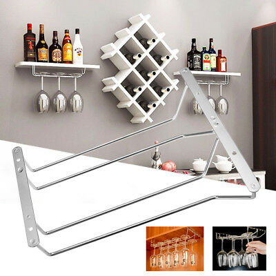 Wine Rack Glass Holder Bar Stemware Cup Storage Hanger 2 Row Stainless Steel