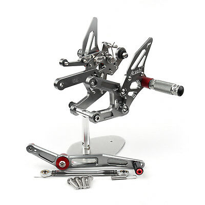 Motorcycle Adjustable Rearset Rearsets Foot Pegs For Yamaha Yzf R6 2017 Gray AU