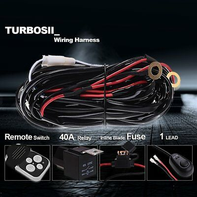40A 12V Wiring Kit With Wireless Remote Control 1Lead For LED Light Bar Offroad