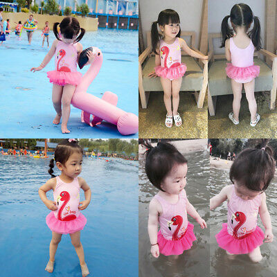 AU Sell Adorable Kid Baby Girl Bikini Flamingo Skirt Swimwear Swimsuit Beachwear