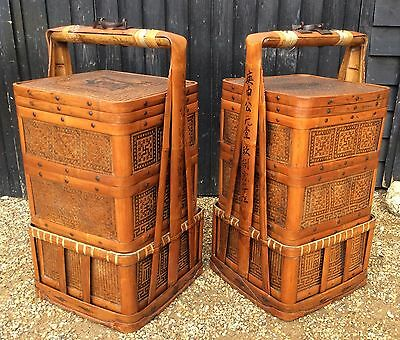 Large Pair Of Chinese Marriage Baskets Each With 3 Removable Storage Baskets