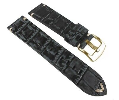 Spare Band Antique Look Wrist Watch Leather Black, Crocodile Embossing 24967G/