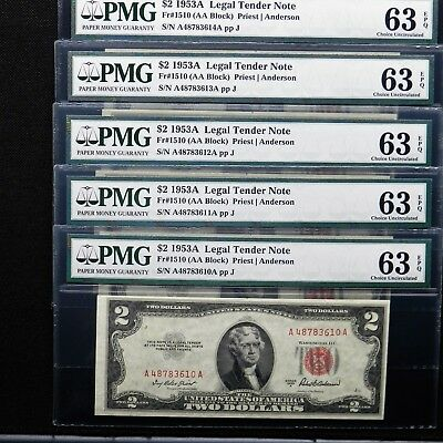$2 1953 A Legal Tender Note, Fr # 1510 AA Block,PMG 63 EPQ, (Lot of 5 Note)