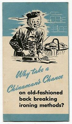 "Old Sears Brochure: ""Kenmore Ironer"" w/ Racist Chinese Hand Laundry Front Cover"