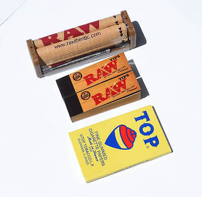 Top Fine Gummed Rolling Papers (1), Raw Regular Tips (2) and 79mm Roller (1)