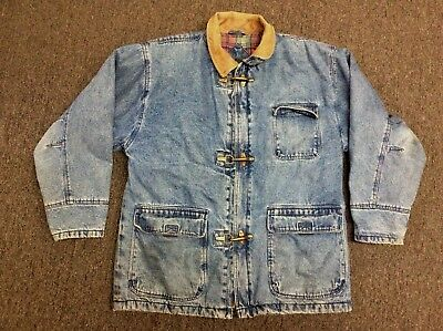 AE Outfitters Heavy Duty Fully Lined Denim Jean Jacket Leather and Metal Buckles