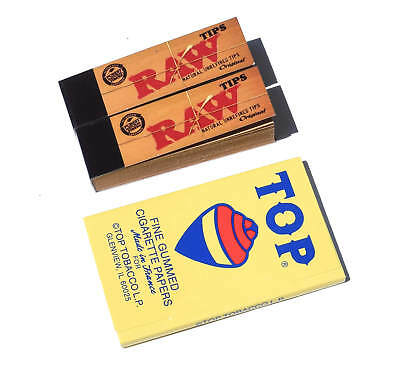 Top Fine Gummed Rolling Papers (1) and Raw Regular Tips (2)