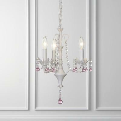 ~Gorgeous & New~3-Light Antique white Vintage Crystal Candle Chandelier # B10097