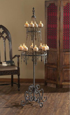 Gothic Floor Candelabra Medieval 12 Candle Filigree Metal Holder Pedestal Stand