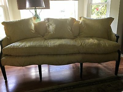 Yellow-White DamaskChippendale Style Couch-Down Filll- InExcellent Condition