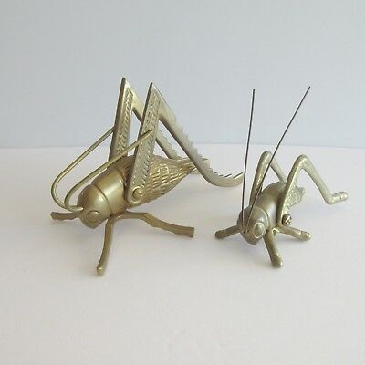 Pair of Brass Crickets Good Luck Hearth Fireplace 1 large 1 small