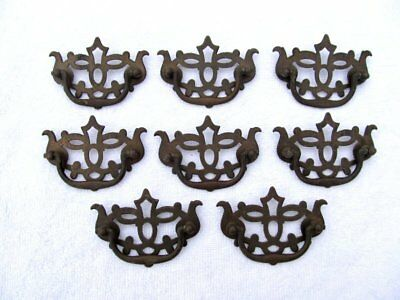 8 Pierced Brass Vintage Antique Bat Wing Chippendale Drawer Pulls Handles