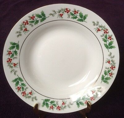 Gibson CHRISTMAS CHARM Soup Cereal Bowl Holly Berries Gold Trim Winter Holiday
