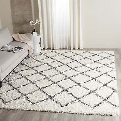 Safavieh Dallas Shag Ivory/ Dark Grey Trellis Rug (8' x 10') Green