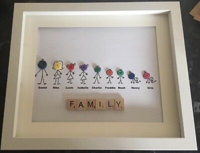 PERSONALISED FAMILY SCRABBLE Button Stickmen Picture Frame Mothers ...