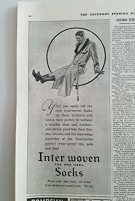 1915 Interwoven toe and heel men's socks man bathrobe garters ad