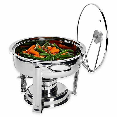 NEW DENMARK 7-Piece 4 Qt. Stainless Steel Chafing Dish With  Tempered Glass Lid