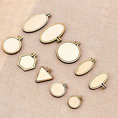 Wooden Embroidery Cross Stitch Hoop Mini Needlework DIY Pendant Making Supplies