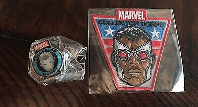 """Funko Marvel Collector's Corps """"Secret Wars"""" Falcon Patch and Iron Man Pin"""