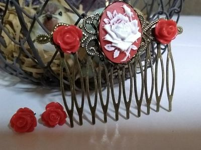 Red White Cameo Rose Hair Comb & Stud Earring Set Great Valentines Gift