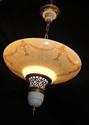 Vintage Lighting Mid Century Modern Ceiling Fixture Chandelier Glass Shade