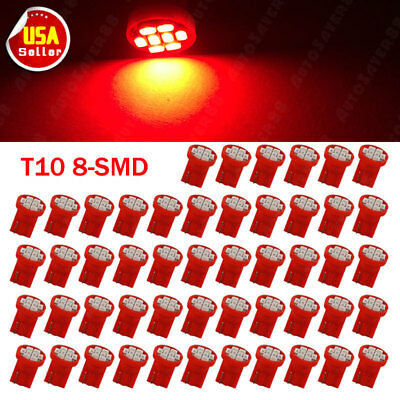 50X Pure Red T10 8SMD LED Interior Dash Instrument Panel Light bulbs W5W 194 168