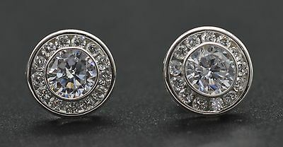 JM66 1.50ct Lab Diamond Halo Solitaire Stud Earrings 14k Solid White Gold