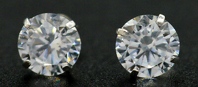 14k Solid White Gold  2.00ct Created Diamond Round Cut Basket Stud Earrings