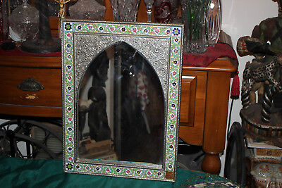Vintage India Middle Eastern Arabic Wall Mirror-Tin Metal-Floral Flower Border