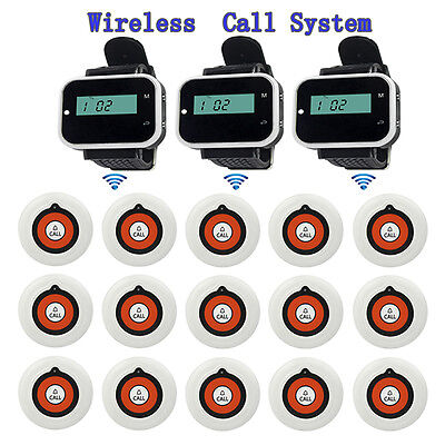 Wireless Restaurant Calling System 3 Watch Receiver Host+15 call Button Pager