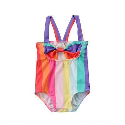 AU Kids Baby Girls Bow Stripe One-piece Swimsuit Swimwear Bathing Suit Beachwear