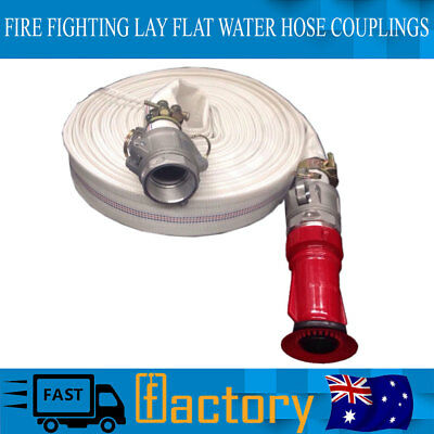 LAY FLAT WATER HOSE COUPLINGS GENUINE 30m 1.5 HIGH PRESSURE FIRE FIGHTING