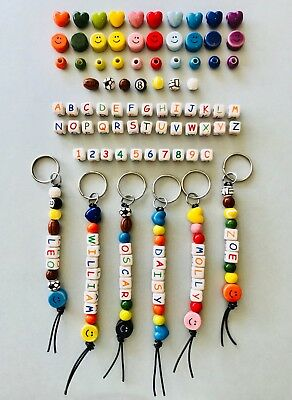 1 School Bag Tag Personalised Ceramic Beads Letters Shapes Boys Girls Fun Gift