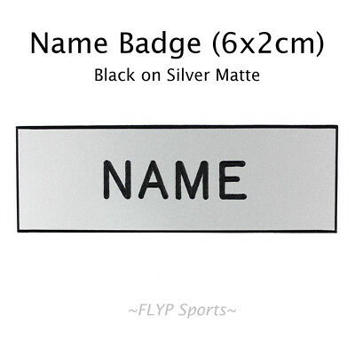 Name Badge Tag Plate Silver Matte NO FASTENER Personalised Engraved Nameplate