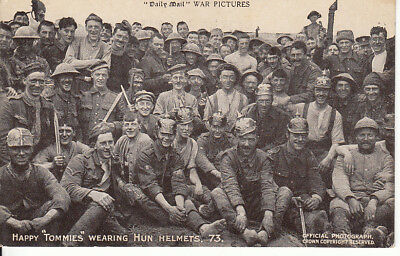 """WW1 Happy Tommies wearing Hun helmets """"Daily Mail"""" War Pictures Series X, No 73"""