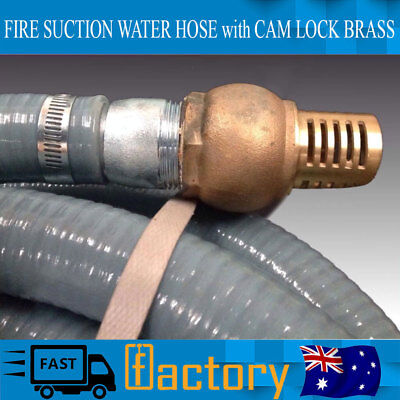 """Fire Suction Water Hose With Cam Lock Brass Foot Valve Genuine 10m 1.5"""""""
