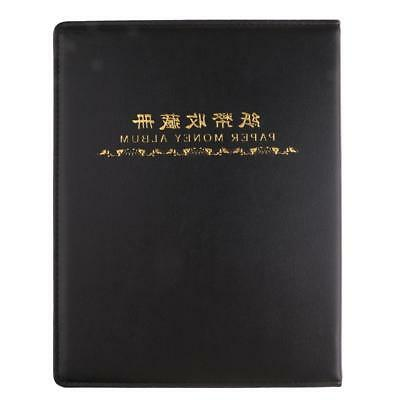 60 Pocket Paper Money Collection Album Leather Bill Notes Book Holders Black
