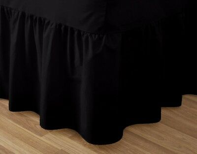 Catherine Lansfield Non Iron Combed Polycotton Base Valance Pleated Black Sheet