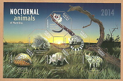 Namibia - Night animals Block 84 mint 2014 Mi. 1466-1471