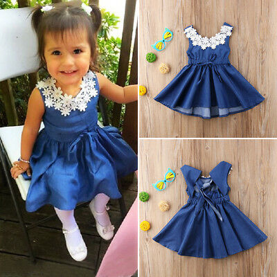 AU Stock Cute Toddler Kids Baby Girls Lace Denim Princess Party Dress Sundress