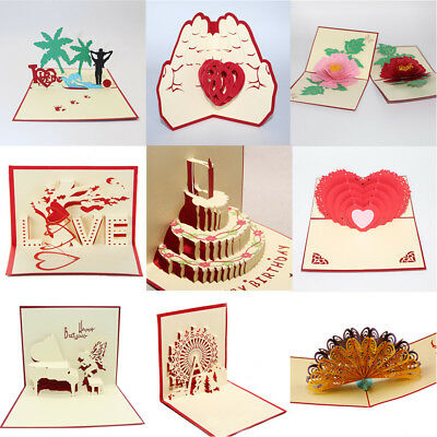 3D Pop Up Cards Valentine Lover Happy Birthday Anniversary Greeting Cards Gifts