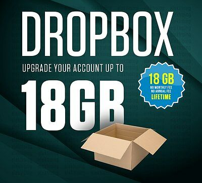 TOP SERVICE - Dropbox upgrade to 18GB lifetime space