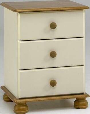 Richmond cream antique pine 3 drawer cabinet bedroom furniture country bedside