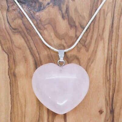 """Rose Quartz Crystal Heart Pendant 25mm with 20"""" Silver Necklace Love Healing"""
